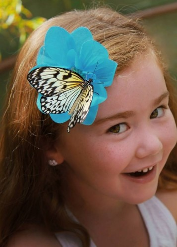 Butterfly Child Blue Hair Butterfly (457x640)